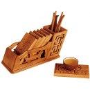 Novinka / Příslušenství Gong Fu čajové nářadí bambusové s tácky C002